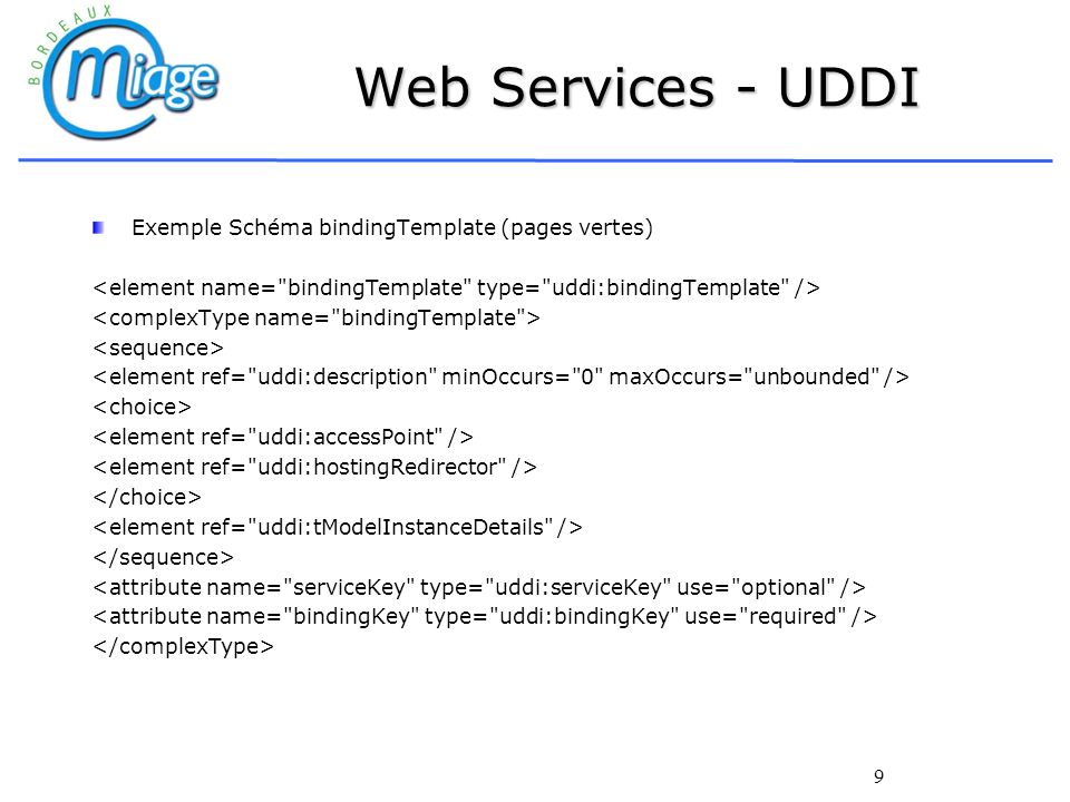 Web Services - UDDI Exemple Schéma bindingTemplate (pages vertes)
