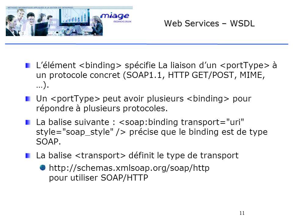 Web Services – WSDL L'élément <binding> spécifie La liaison d'un <portType> à un protocole concret (SOAP1.1, HTTP GET/POST, MIME, …).