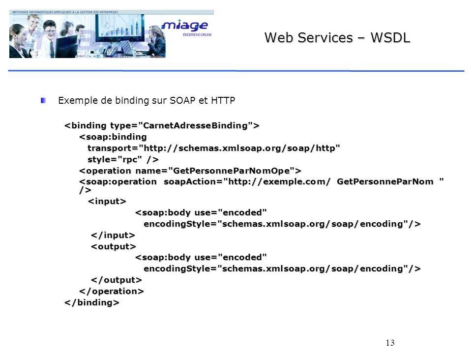 Web Services – WSDL Exemple de binding sur SOAP et HTTP