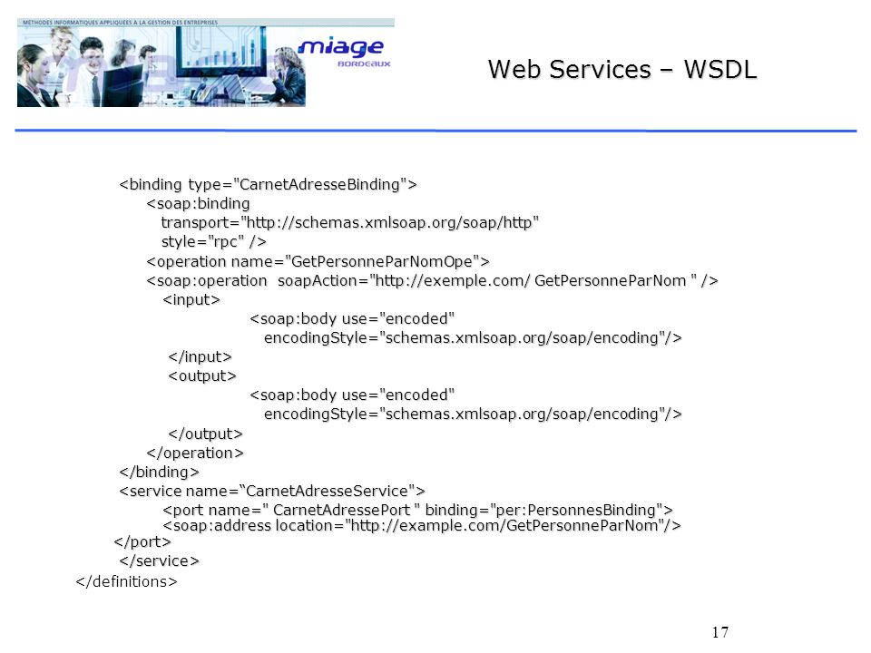 Web Services – WSDL <binding type= CarnetAdresseBinding >