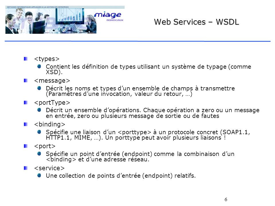 Web Services – WSDL <types> <message> <portType>