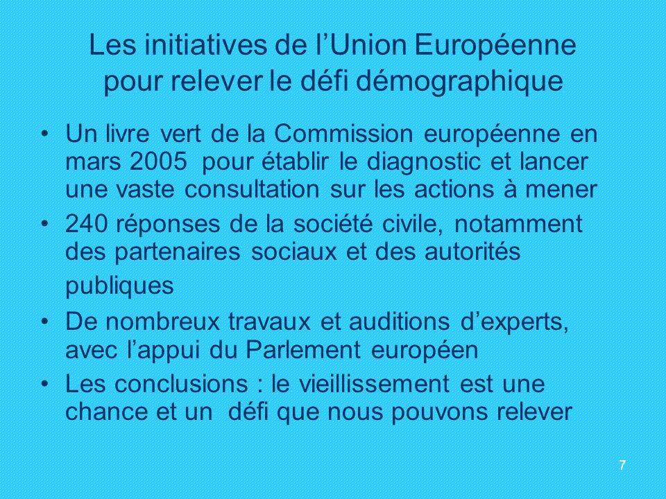 Les initiatives de l'Union Européenne pour relever le défi démographique