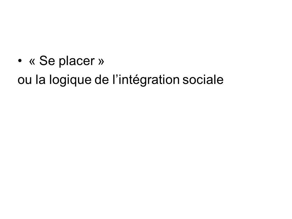 « Se placer » ou la logique de l'intégration sociale