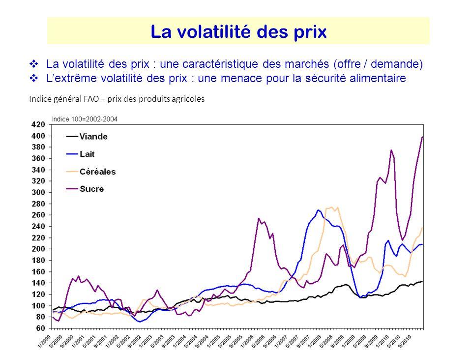 La volatilité des prix La volatilité des prix : une caractéristique des marchés (offre / demande)