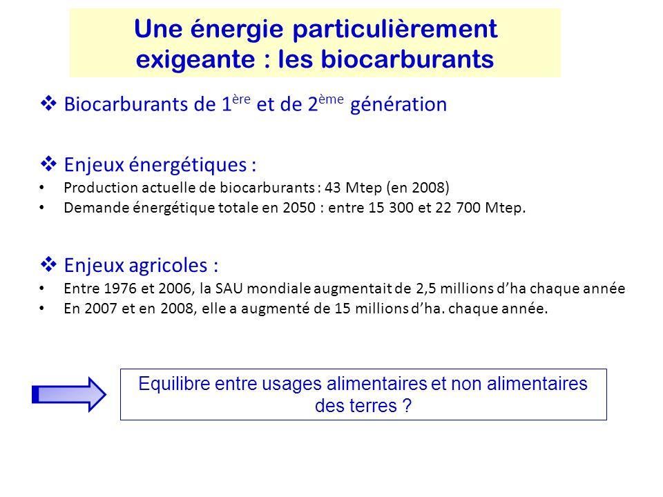 Une énergie particulièrement exigeante : les biocarburants