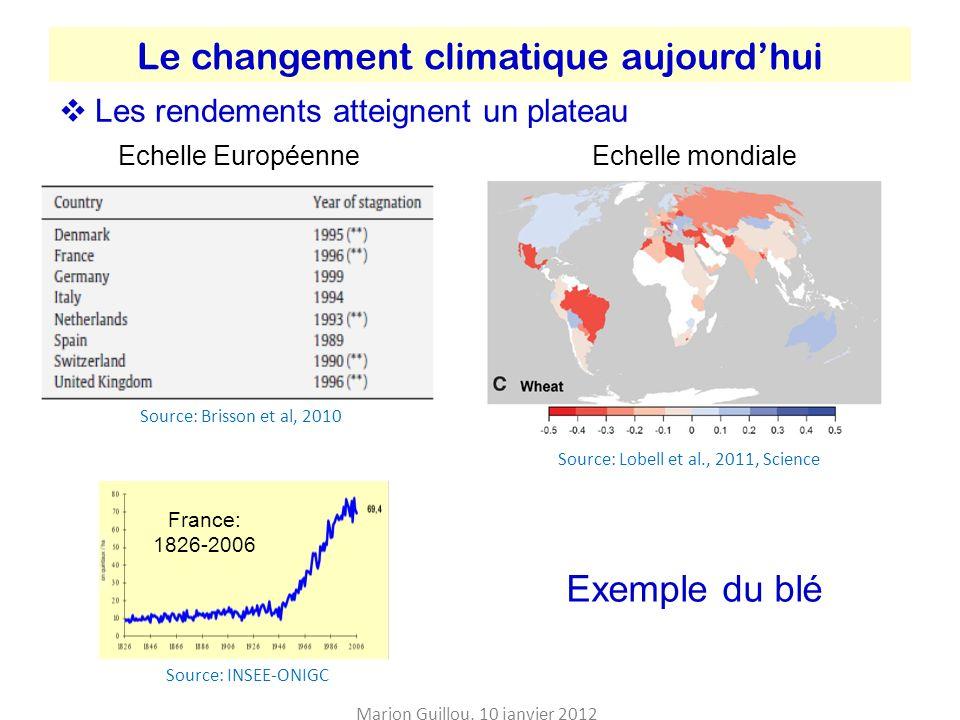Le changement climatique aujourd'hui