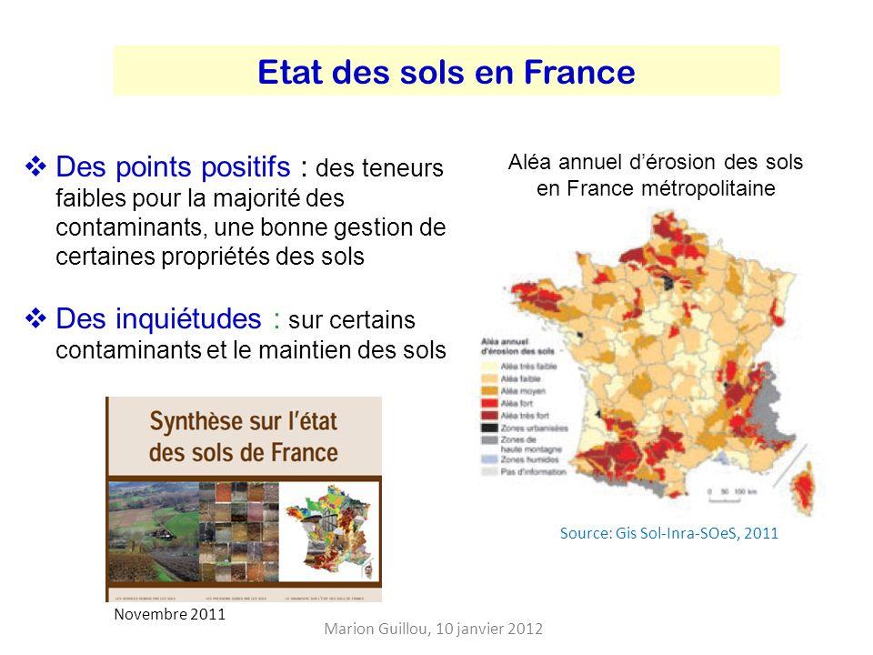Aléa annuel d'érosion des sols en France métropolitaine
