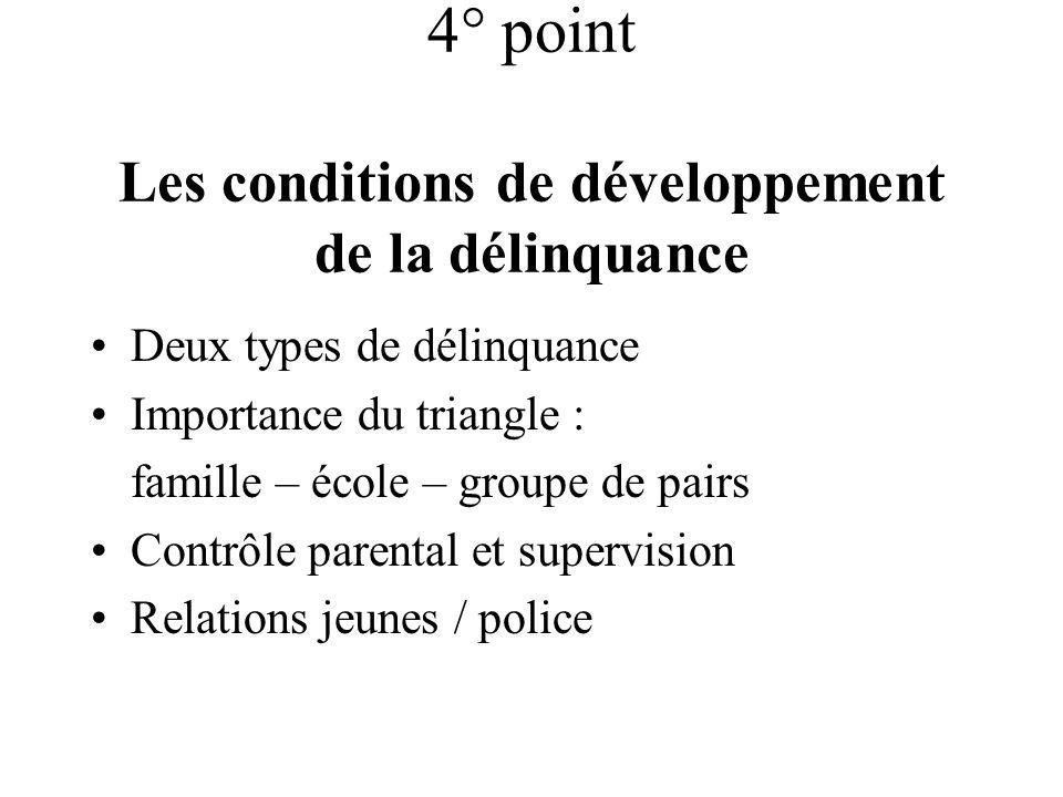4° point Les conditions de développement de la délinquance