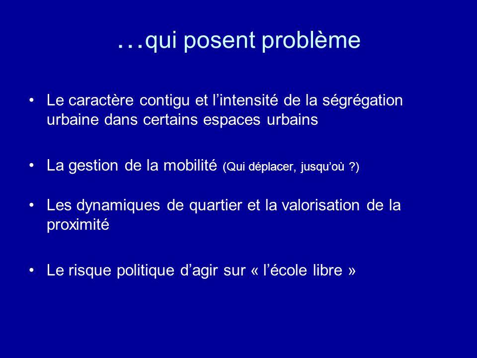 …qui posent problème Le caractère contigu et l'intensité de la ségrégation urbaine dans certains espaces urbains.