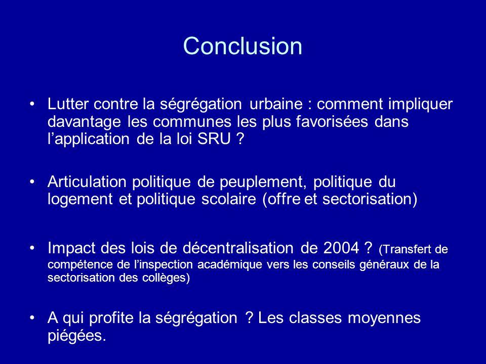 Conclusion Lutter contre la ségrégation urbaine : comment impliquer davantage les communes les plus favorisées dans l'application de la loi SRU