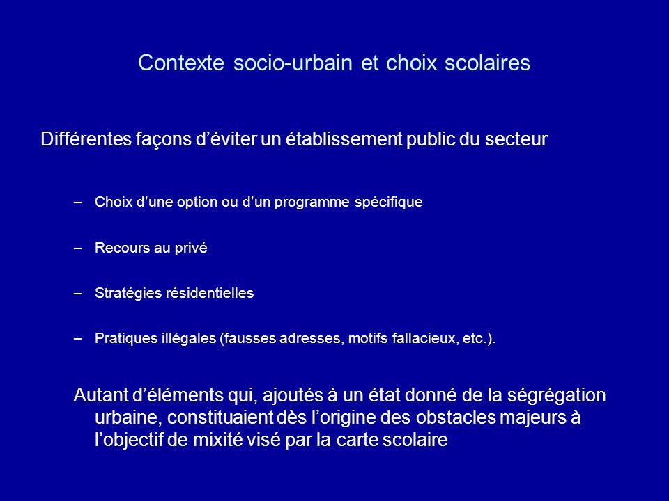 Contexte socio-urbain et choix scolaires