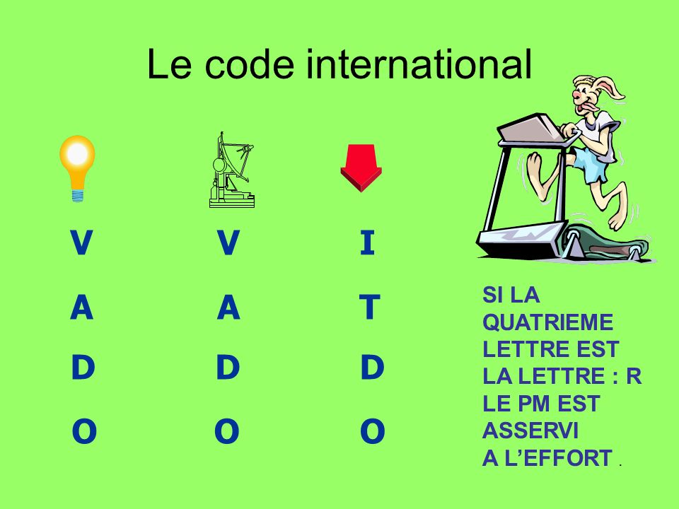Le code international V A D O I T SI LA QUATRIEME LETTRE EST