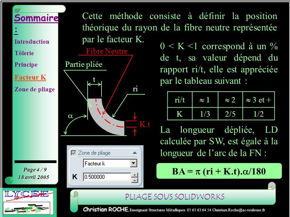 Facteur K Cette méthode consiste à définir la position théorique du rayon de la fibre neutre représentée par le facteur K.