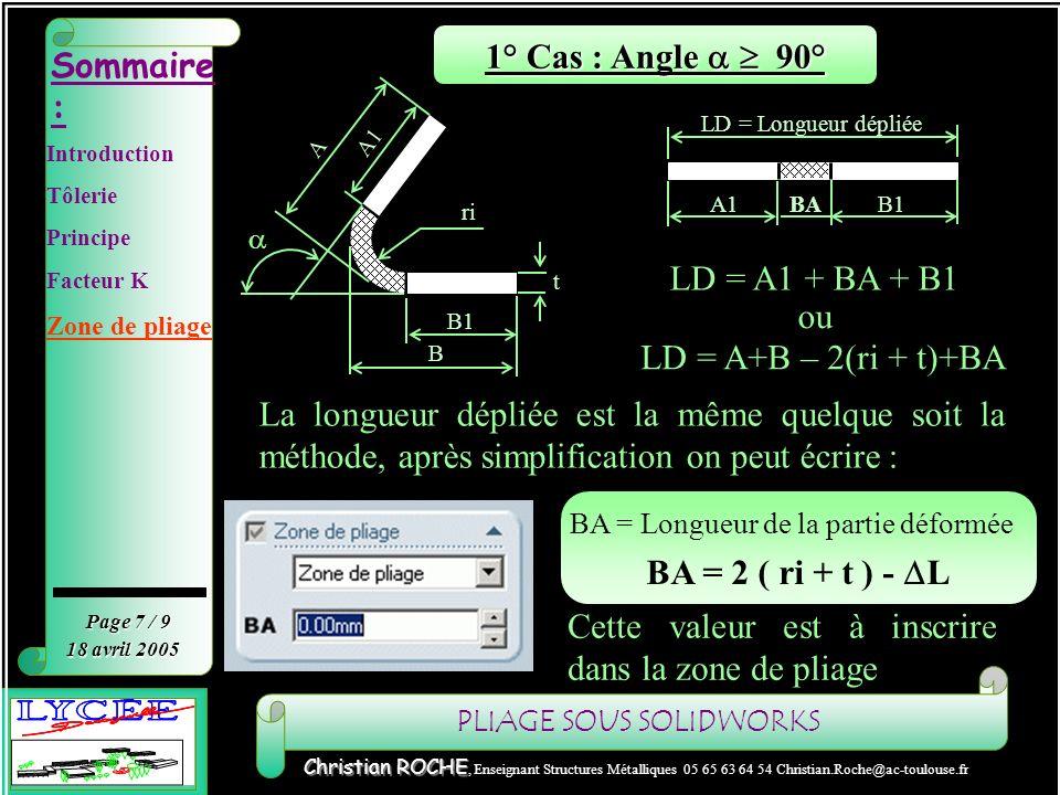 1° Cas : Angle a  90° BA = 2 ( ri + t ) - DL