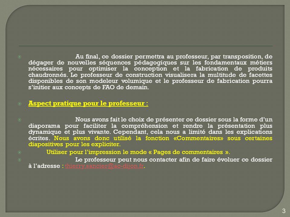 Aspect pratique pour le professeur :