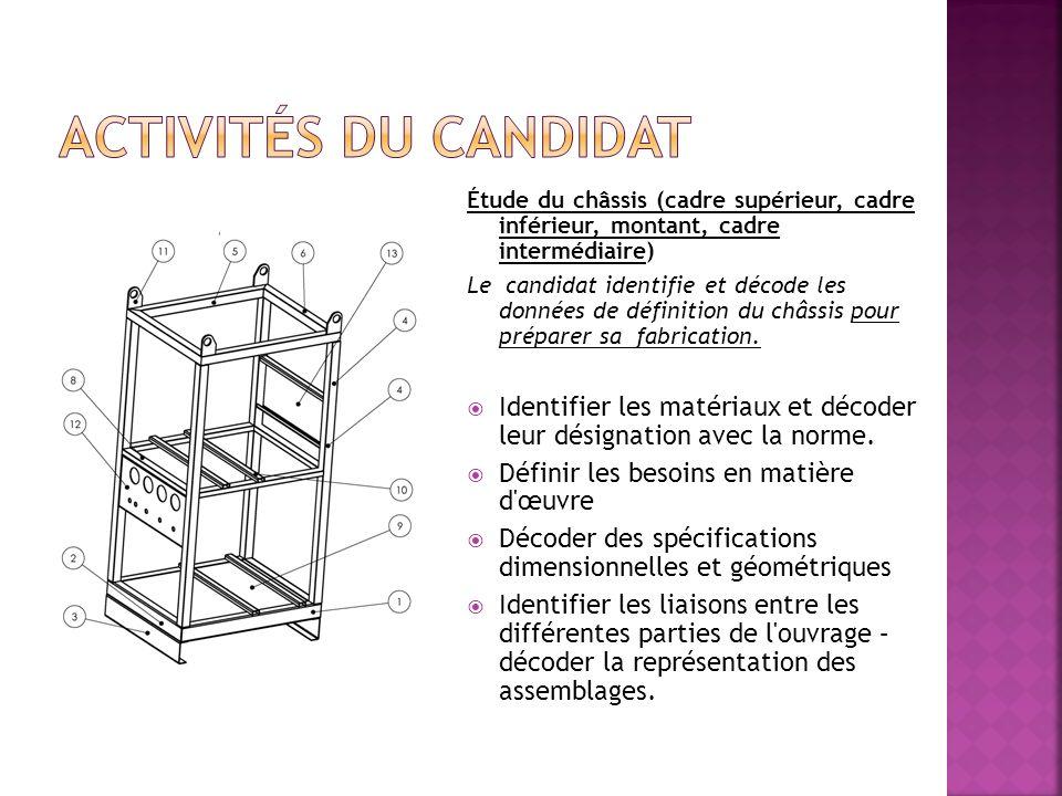 Activités du candidat Étude du châssis (cadre supérieur, cadre inférieur, montant, cadre intermédiaire)