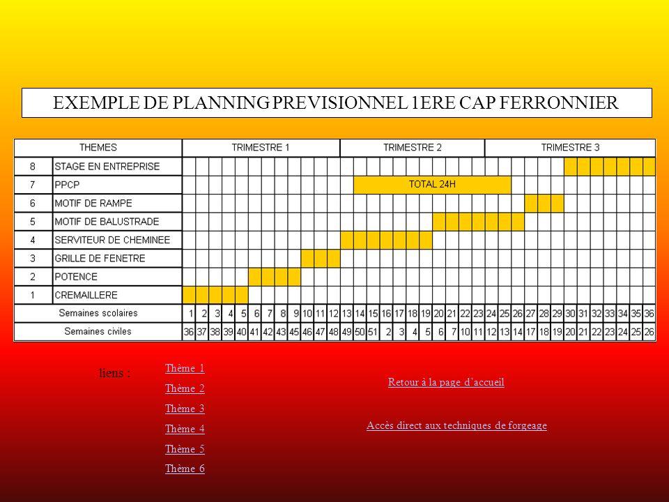 EXEMPLE DE PLANNING PREVISIONNEL 1ERE CAP FERRONNIER