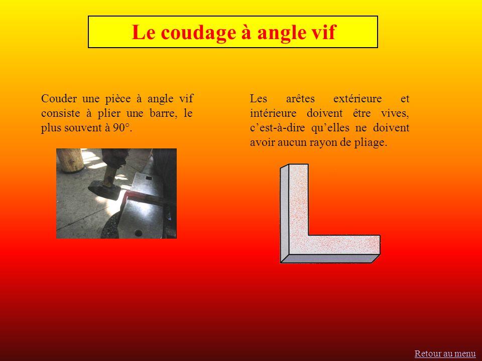 Le coudage à angle vif Couder une pièce à angle vif consiste à plier une barre, le plus souvent à 90°.