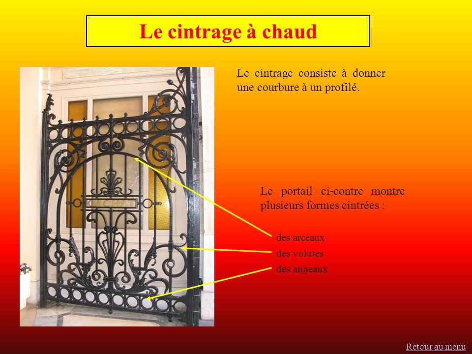 Le cintrage à chaud Le cintrage consiste à donner une courbure à un profilé. Le portail ci-contre montre plusieurs formes cintrées :