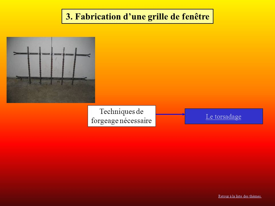 3. Fabrication d'une grille de fenêtre