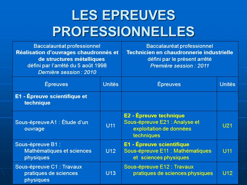 LES EPREUVES PROFESSIONNELLES