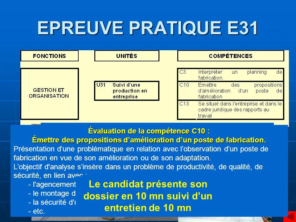 EPREUVE PRATIQUE E31 Dossier en 3 parties : Partie A : l'entreprise et son environnement (domaine de l'économie/gestion. ¼ de la note)