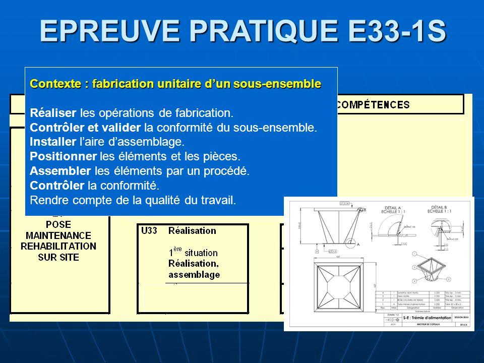 EPREUVE PRATIQUE E33-1S Contexte : fabrication unitaire d'un sous-ensemble. Réaliser les opérations de fabrication.