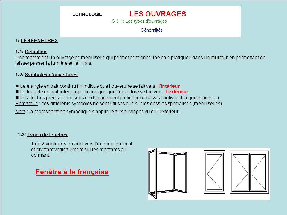 LES OUVRAGES Fenêtre à la française 1/ LES FENETRES 1-1/ Définition