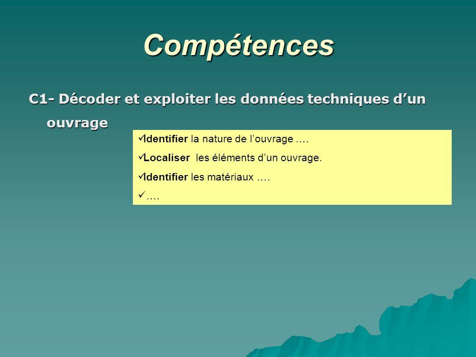 Compétences C1- Décoder et exploiter les données techniques d'un ouvrage. Identifier la nature de l'ouvrage ….