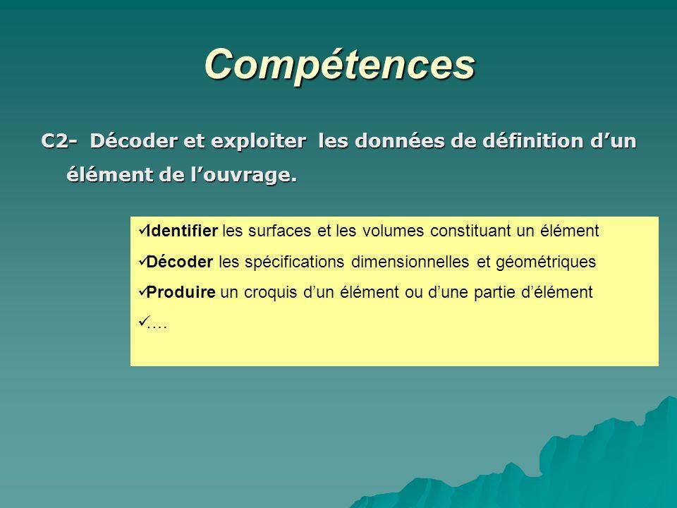 Compétences C2- Décoder et exploiter les données de définition d'un élément de l'ouvrage.
