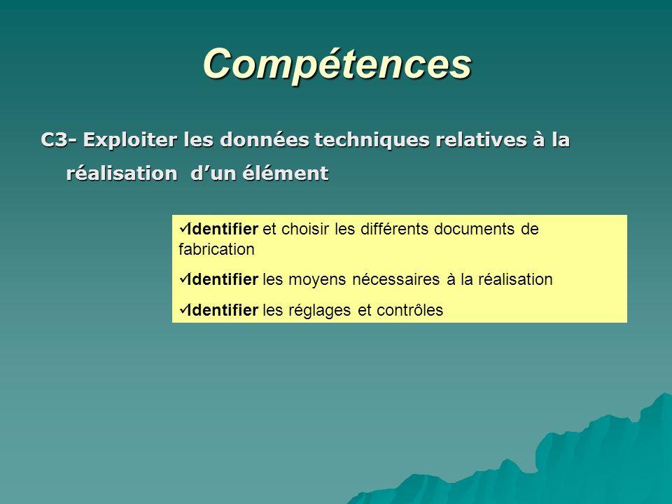 Compétences C3- Exploiter les données techniques relatives à la réalisation d'un élément.