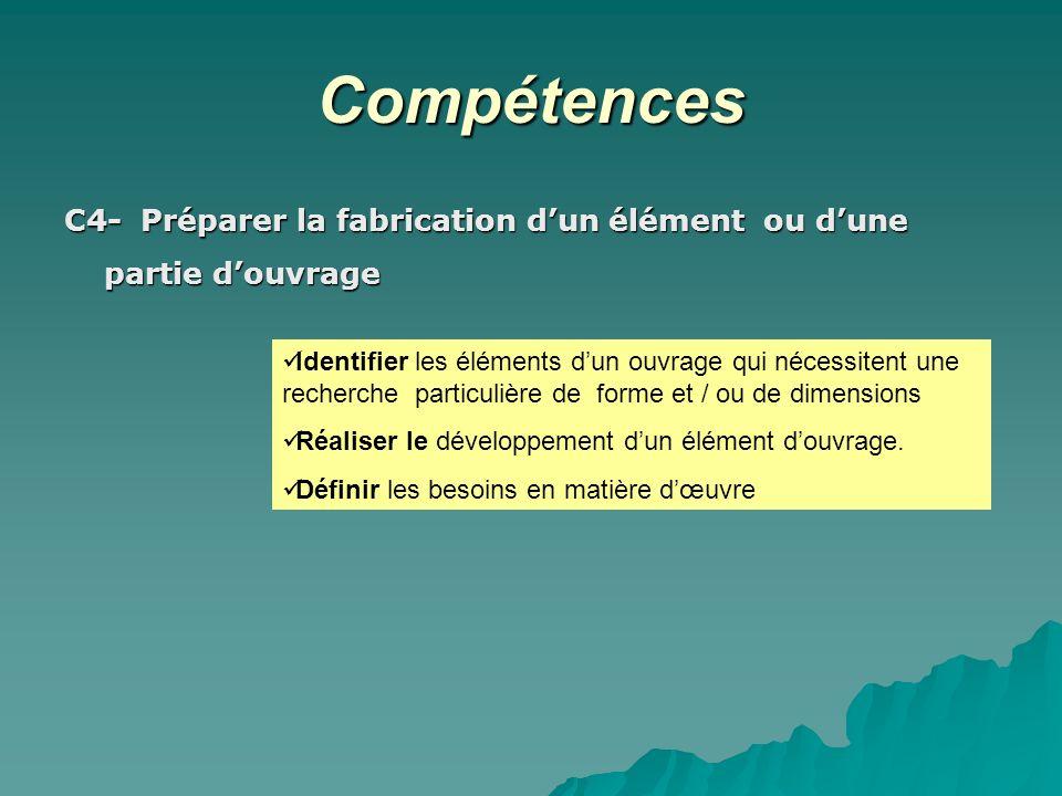 CompétencesC4- Préparer la fabrication d'un élément ou d'une partie d'ouvrage.