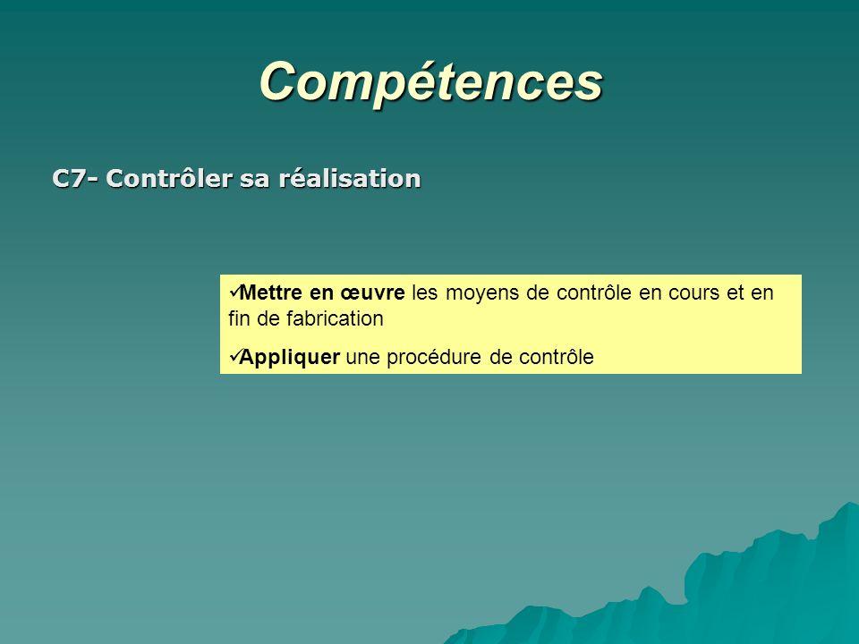 Compétences C7- Contrôler sa réalisation