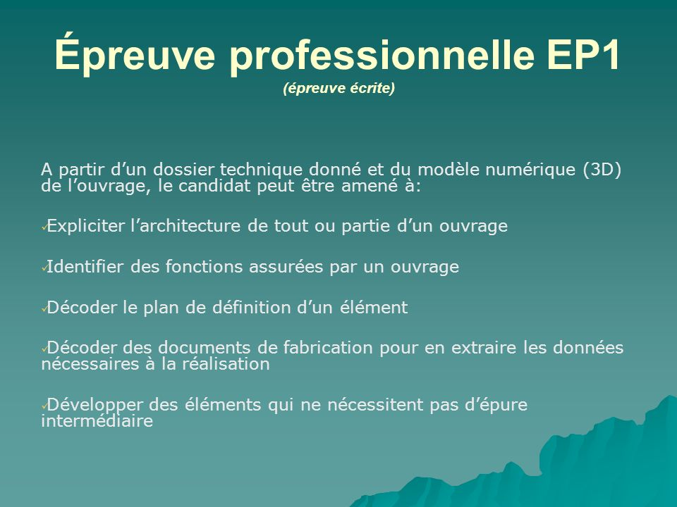 Épreuve professionnelle EP1 (épreuve écrite)
