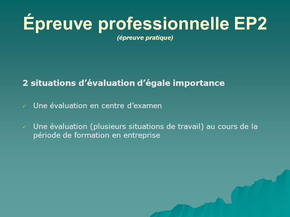 Épreuve professionnelle EP2 (épreuve pratique)