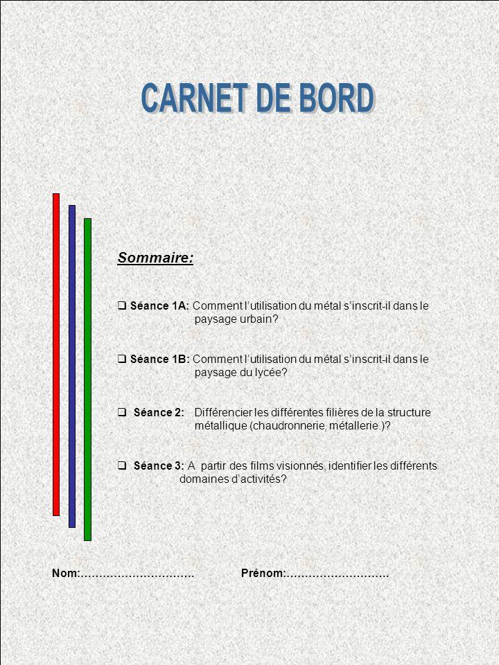 CARNET DE BORD Sommaire: