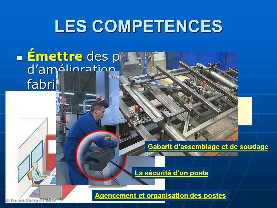 LES COMPETENCESÉmettre des propositions d'amélioration d'un poste de fabrication. Gabarit d'assemblage et de soudage.