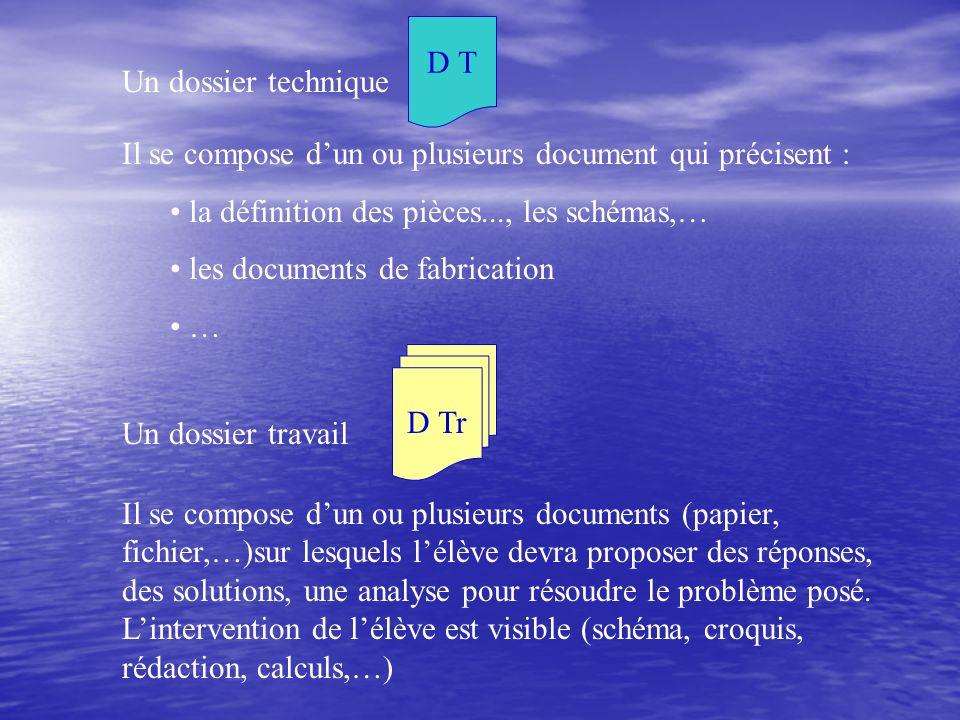 Un dossier technique D T. Il se compose d'un ou plusieurs document qui précisent : la définition des pièces..., les schémas,…