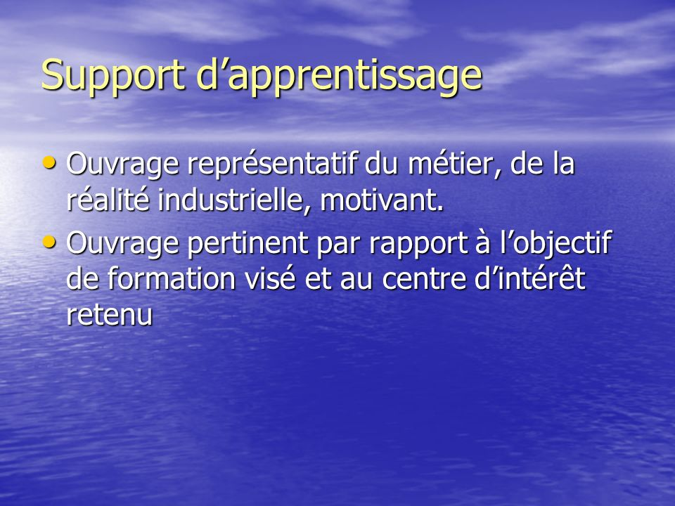 Support d'apprentissage