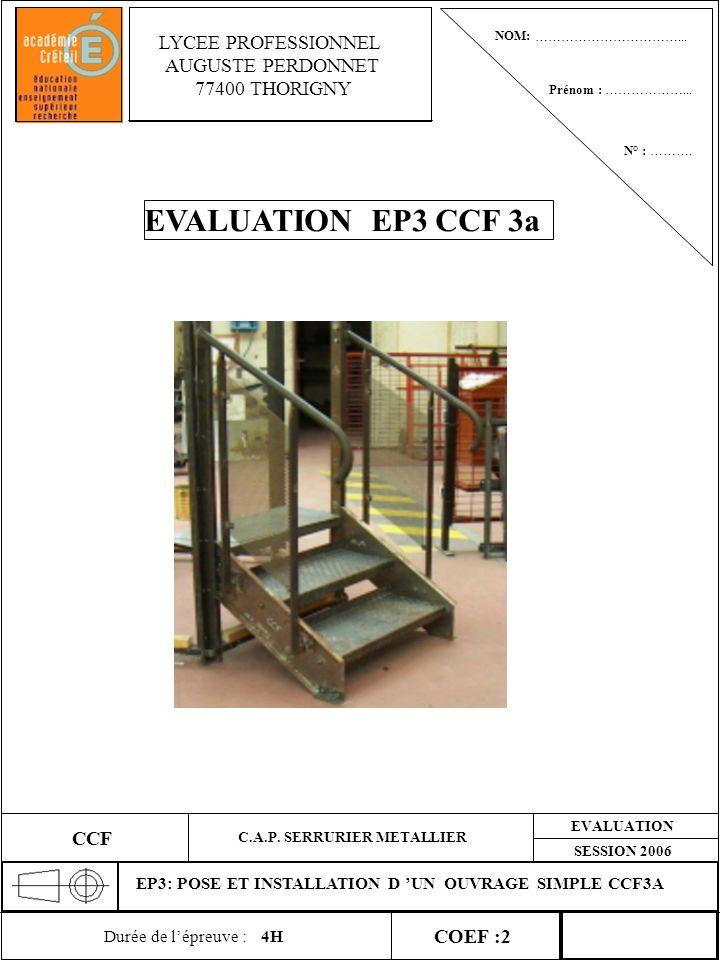 EVALUATION EP3 CCF 3a LYCEE PROFESSIONNEL AUGUSTE PERDONNET