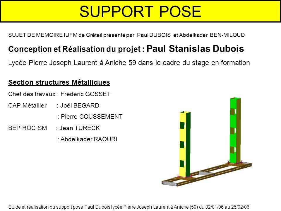 SUPPORT POSE SUJET DE MEMOIRE IUFM de Créteil présenté par Paul DUBOIS et Abdelkader BEN-MILOUD.