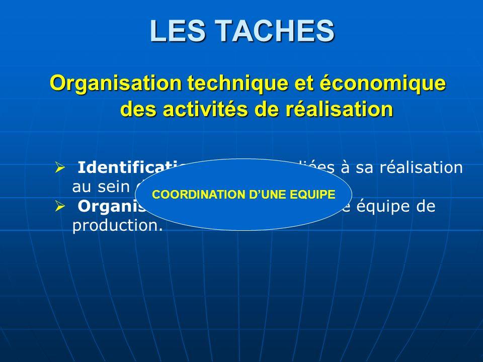 LES TACHES Organisation technique et économique des activités de réalisation. Identification des tâches liées à sa réalisation au sein d'un planning.