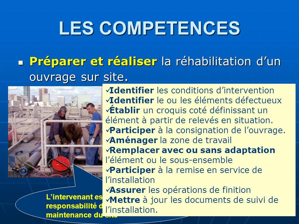 LES COMPETENCES Préparer et réaliser la réhabilitation d'un ouvrage sur site. Identifier les conditions d'intervention.
