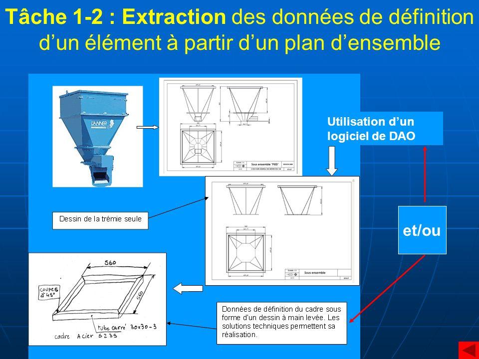 Tâche 1-2 : Extraction des données de définition d'un élément à partir d'un plan d'ensemble