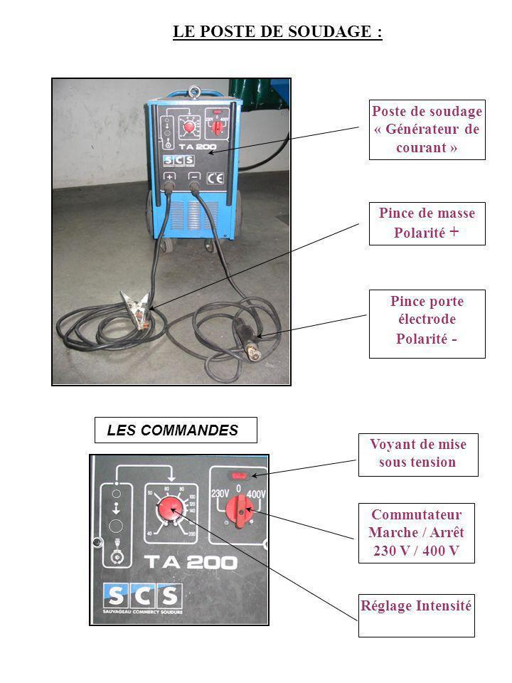 LE POSTE DE SOUDAGE : Poste de soudage « Générateur de courant »