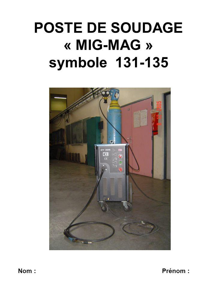 POSTE DE SOUDAGE « MIG-MAG » symbole 131-135 Nom : Prénom :