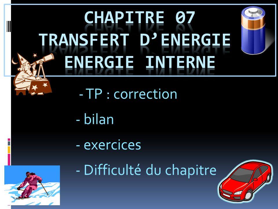 Chapitre 07 transfert d'energie et energie interne