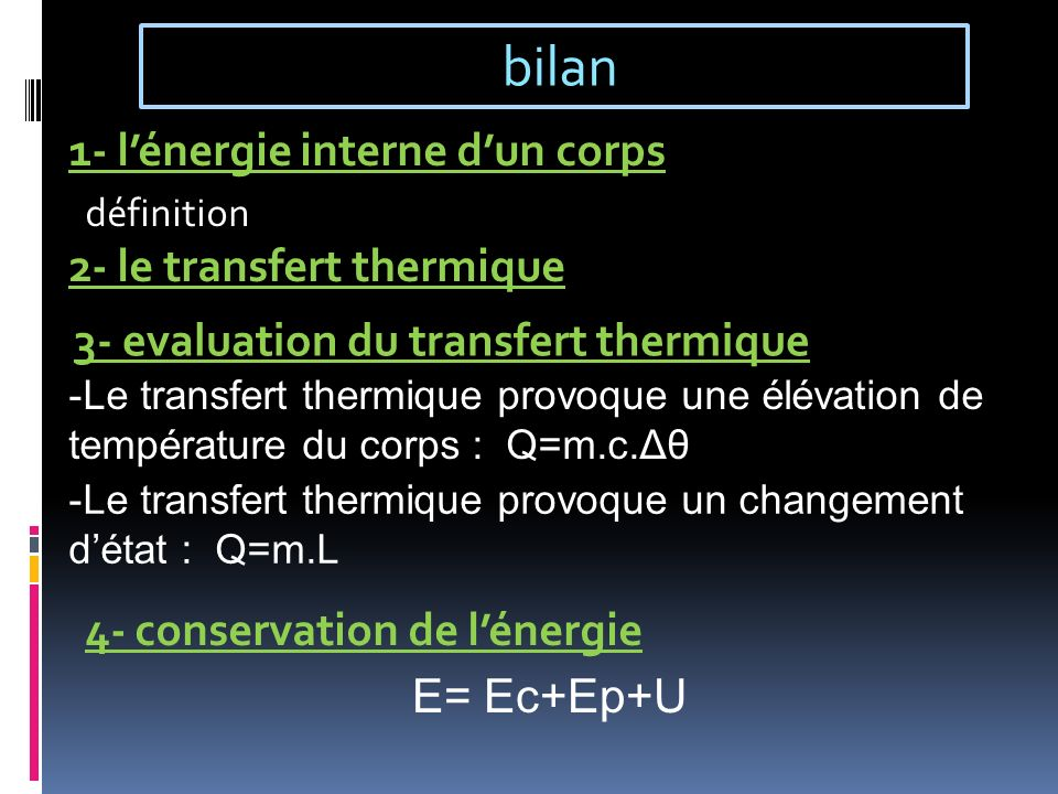 bilan 1- l'énergie interne d'un corps 2- le transfert thermique