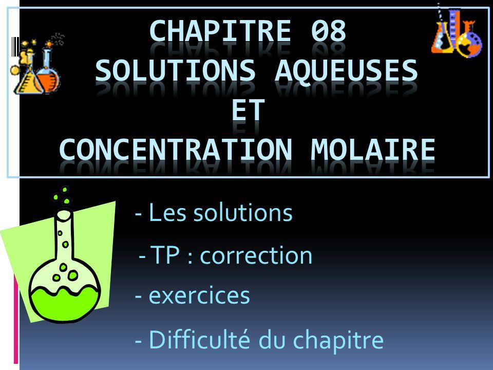 Chapitre 08 solutions aqueuses et concentration molaire