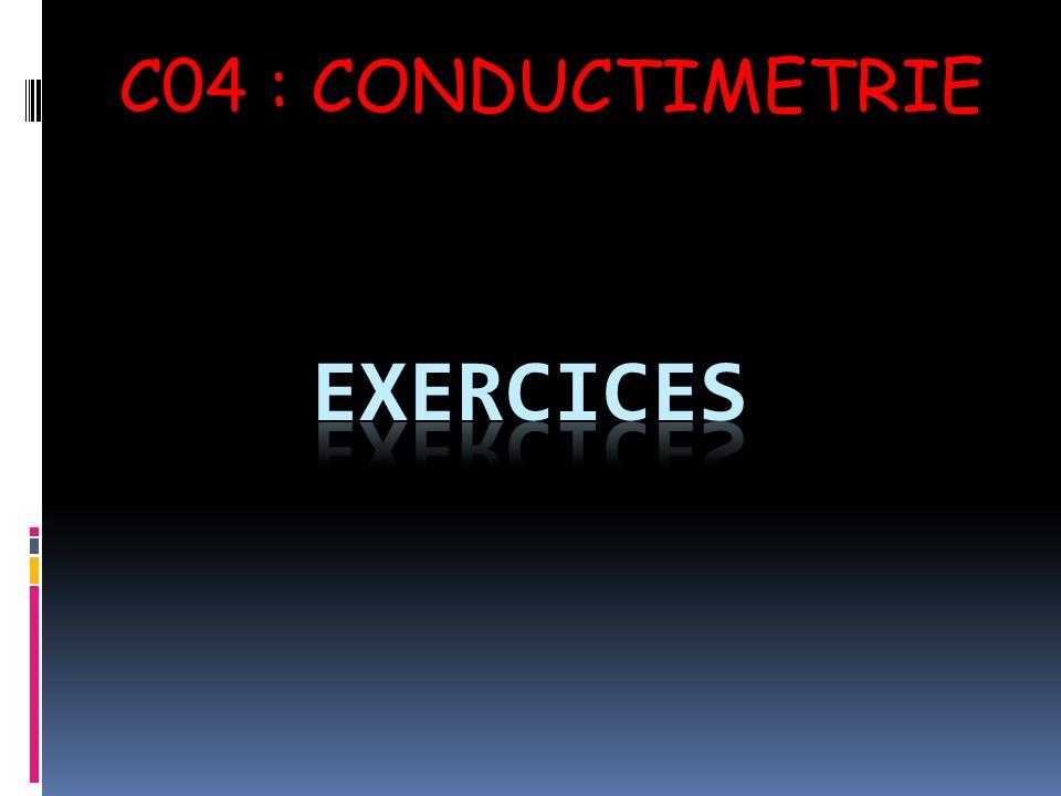 C04 : CONDUCTIMETRIE Exercices